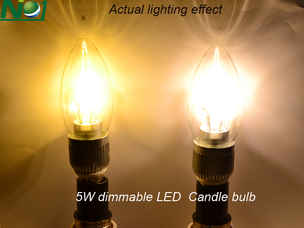 lighting effect of 5W Dimmable LED candelabra light bulbs