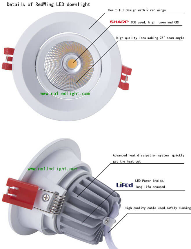 13W LED downlight SHARP COB 75 degree details