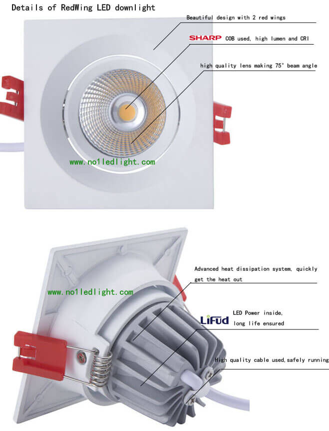 Square LED Downlight details